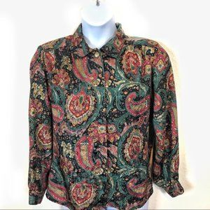 Vintage Paisley Librarian Silky Blouse Size 12